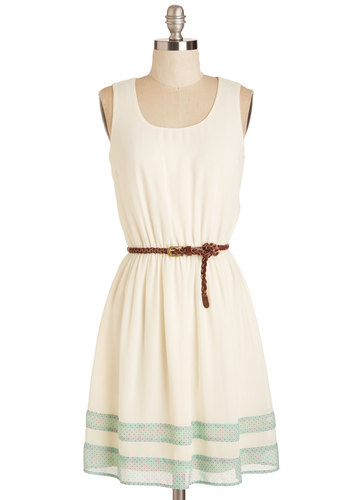 The Good Stroll Days Dress - Sundress, White, Mint, Solid, Casual, A-line, Sleeveless, Spring, Good, Mid-length, Belted
