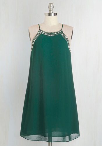 Gallery Curator Dress in Jade - Green, Solid, Beads, Party, Girls Night Out, 20s, Shift, Spaghetti Straps, Woven, Holiday Party, Vintage Inspired, Mid-length, Homecoming, Prom, Top Rated