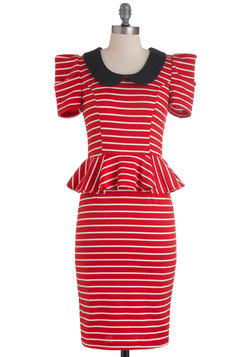 Work with Me Dress in Red Stripes