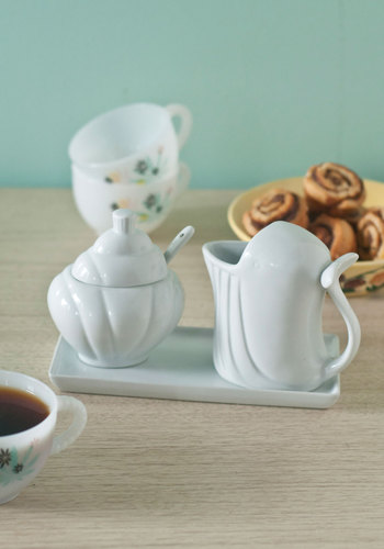 Whale Be There Cream & Sugar Set - White, Nautical