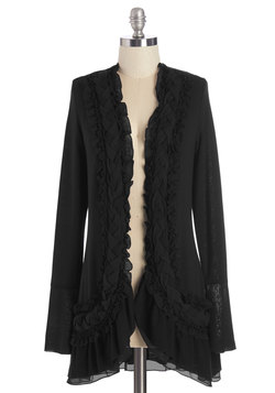 by the flickering firelight cardigan in noir (modcloth)
