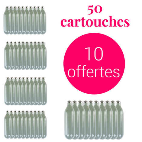 40 cartouches de 8g de n2o pour siphon chantilly 10 offertes