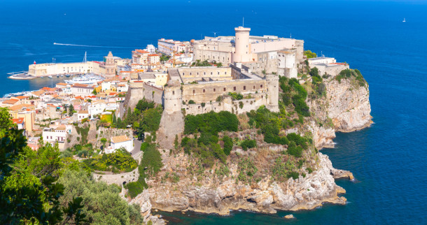 Massive Aragonese-Angevine Castle on the hill in old town of Gaeta, Italy