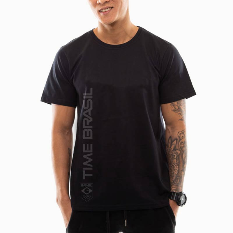 Camiseta---Unisex--Preta---100%-Algodão---Silk-Time-Brasil-Lateral