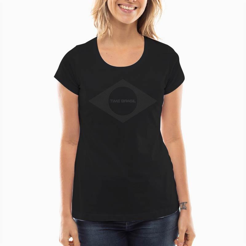 Camiseta-Feminina-Long-Preta---100%-Algodão---Lozango