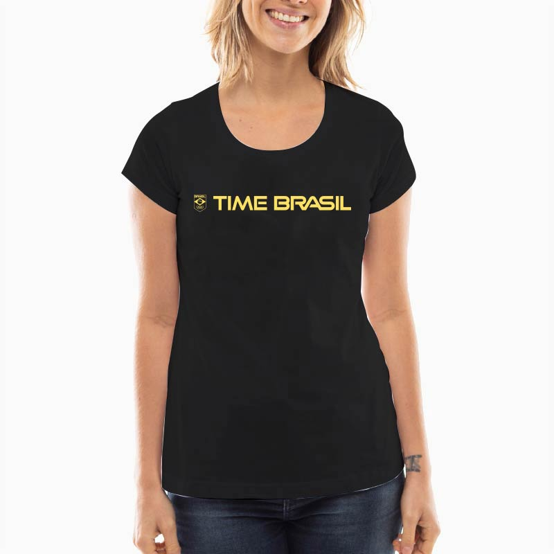 Camiseta---Feminia-Long-Preta---100%-Algodão---Silk-Lettering-Time-Brasil-Amarelo