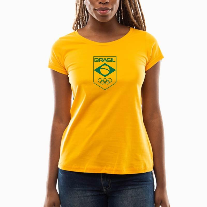 Camiseta-Feminina-Long-Amarela-–-100%-Algodão-–-Silk-Time-Brasil