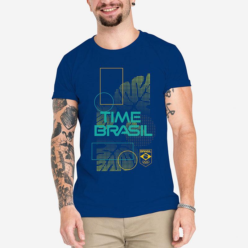 Camiseta-Unissex-Azul100%-Algodão---Folhas