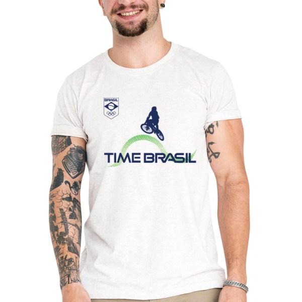 Camiseta Unissex Branca - 100% Algodão - Ciclismo BMX