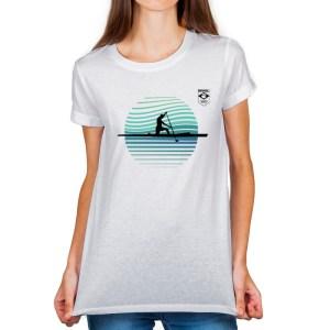 Camiseta Feminina Long Branca - 100% Algodão - Canoagem Velocidade
