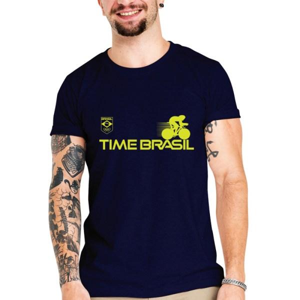 Camiseta Unissex Azul Marinho - 100% Algodão - Ciclismo de Pista