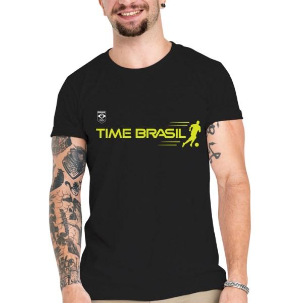 Camiseta Unissex Preta - 100% Algodão - Futebol