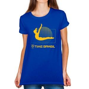 Camiseta Feminina Long Azul - 100% Algodão - Ginástica de Trampolim