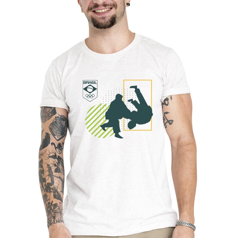 Camiseta Unissex Branca - 100% Algodão - Judô