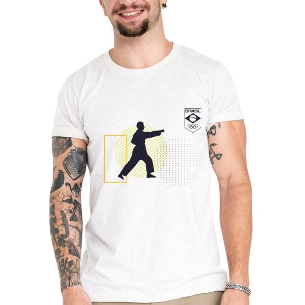 Camiseta Unissex Branca - 100% Algodão - Karatê