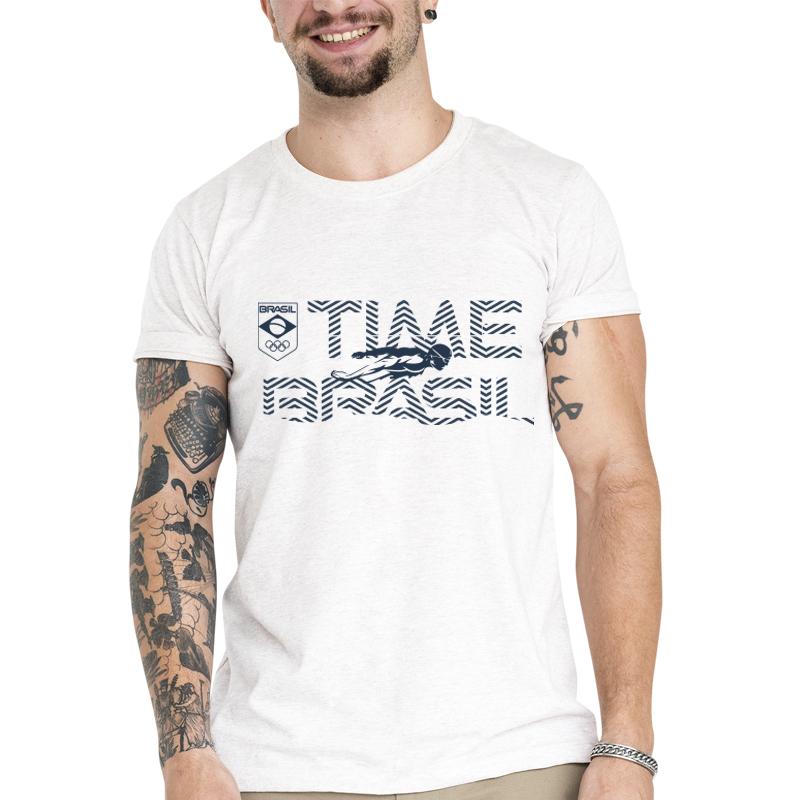 Camiseta Unissex Branca - 100% Algodão - Natação