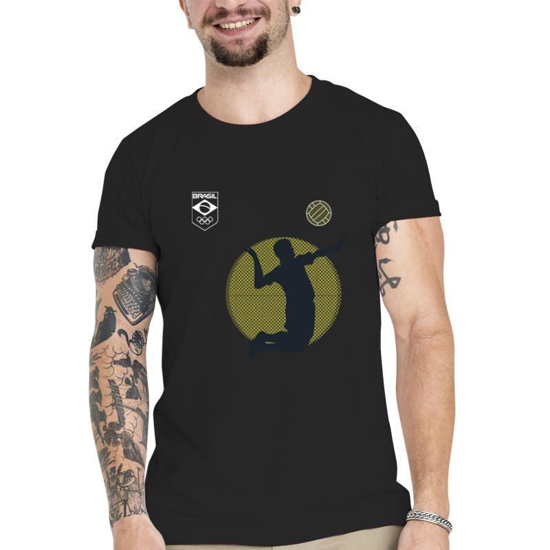 Camiseta Unissex Preta - 100% Algodão - Vôlei