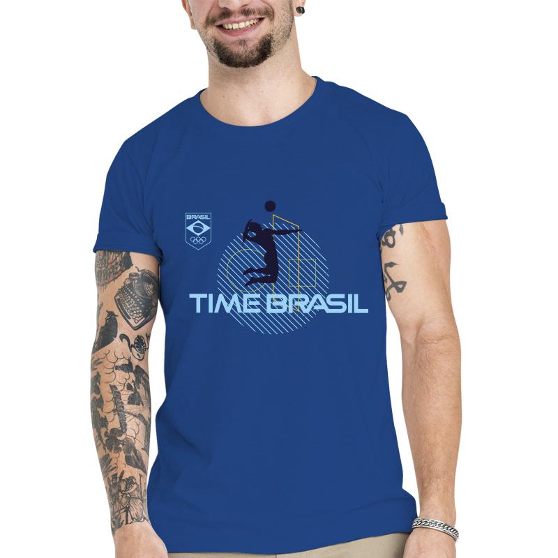 Camiseta Unissex Azul - 100% Algodão - Vôlei de Praia