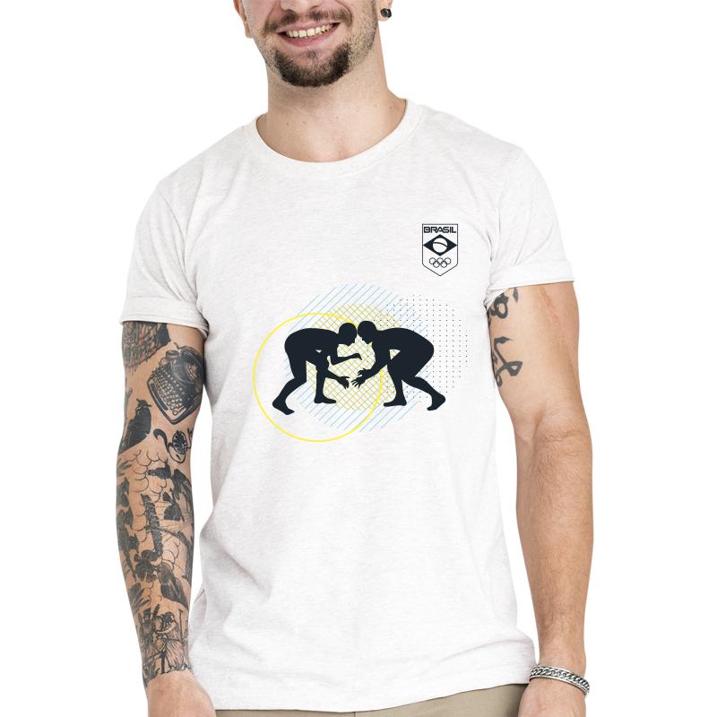 Camiseta Unissex Branca - 100% Algodão - Wrestling