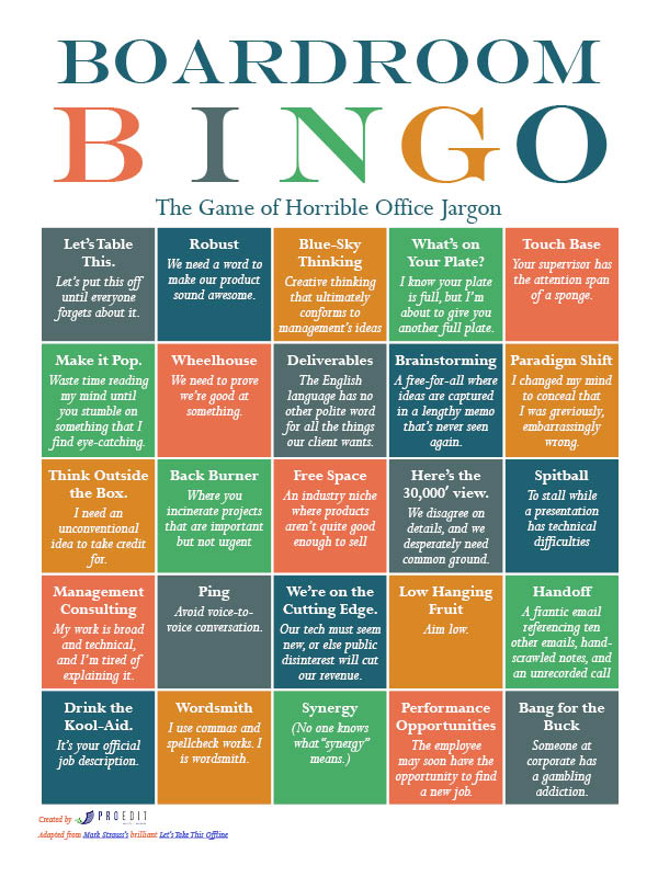 Boardroom Bingo: The Game of Horrible Office Jargon