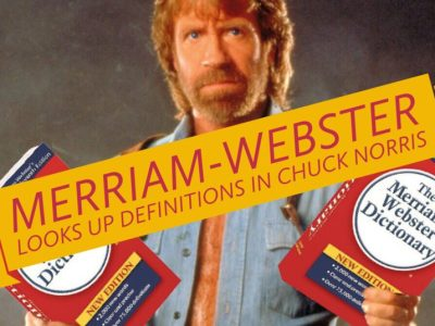 Epic Chuck Norris holding two dictionaries like sub-machine guns - Merriam-Webster looks up definitions in Chuck Norris'