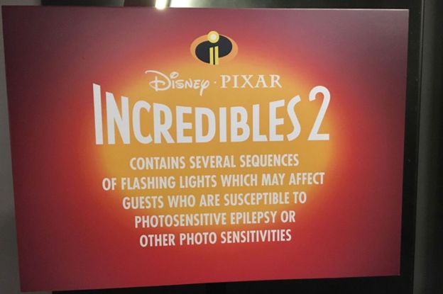 Screen shot of the photosensitive epilepsy accessibility warning in Disney Pixar's Incredibles II