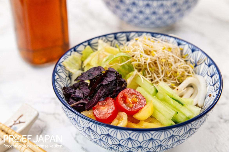 Foto van koude udon noedels met groente (hiyashi tanuki udon). In dit geval wat paarse shisho, komkommer, tomaat, sla, en alfalfa.