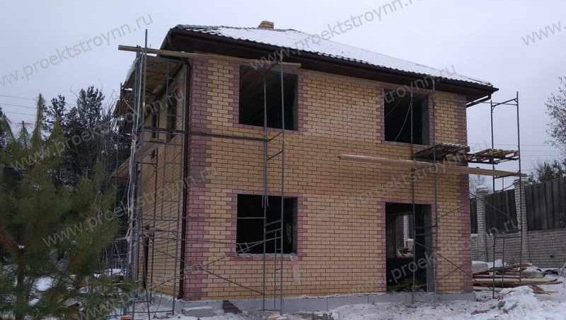 дом из пенобетона, облицовка дома кирпичом, каменный дом, кирпичный дом, строительство дома из пенобетона