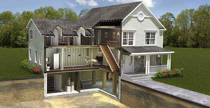 дом с подвалом, дом с цоколем