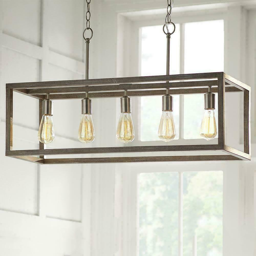 5 light brushed nickel island chandelier with weathered wood accents