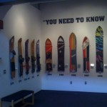 History of the snowboards at the Burton Snowboards Headquarters in Burlington, VT