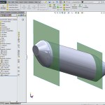 Solidworks Top down design master model showing the green transparent delineation surfaces
