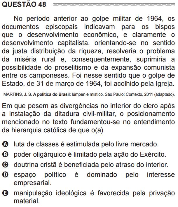 ec2ae19dd História no ENEM: Igreja, Ditadura Militar e Guerra Fria – Questão ...