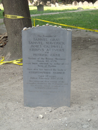Marker for Boston Massacre victims