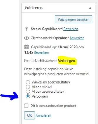 Product verbergen in wordpress - stap 2