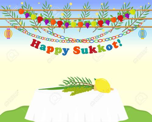 Four species, etrog, lulav, hadass and aravah, symbols of Jewish holiday Sukkot on table, date palm branches, garlands and greeting inscription