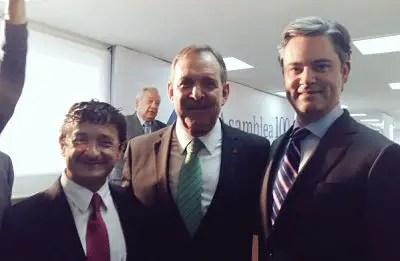 Virgilio Andrade, Secretario de la Función Pública, Enrique Solana, Presidente de la CONCANACO y Aurelio Nuño, tiutlar de la SEP