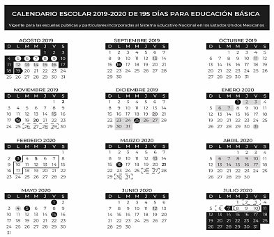 Calendario Escolar 20202020.Calendarios Escolares 2019 2020 De La Sep 185 Y 195 Dias