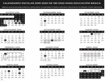 Calendario Agosto 2019 Julio 2020.Calendario Escolar 2019 2020 De La Sep Profelandia Com