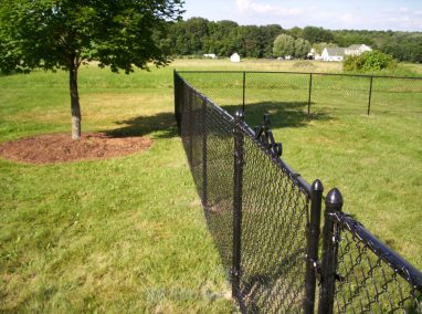 An all black chain link fence looks great in every season. It blends well with the background in the