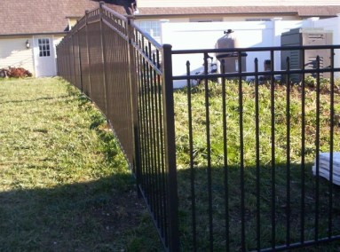 All of our OnGuard Siskin Style fence panels allow for 'racking' so an installation on even a serious grade is easy. We only stock black panels but can order it in your choice of any of the 5 colors OnGuard sells.