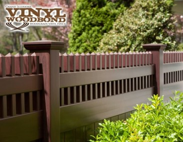 Grand Illusions WoodBond wood grain vinyl fence is offered in all the stunning Illusions fence styles. Here it is shown as the V3700, a T&G privacy panel with a straight Victorian picket top.
