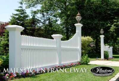 Illusions style V700 - Classic Victorian picket fence with 8x8 Majestic posts and driveway accent transition panekl