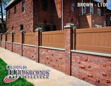 A custom height V300 T&G vinyl privacy fence panel in L106 Brown by Grand Illusions