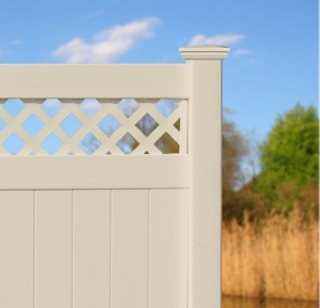 Illusions V3215D - a T&G privacy panel with standared diagonal lattice top in Classic Beige.