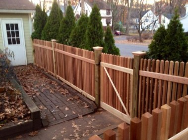 Beautiful Classic Victorian picket fence in Red Cedar is available in 3 or 4 foot heights and with a straighte, boxed (framed), 2 or 3 rail staggered picket, stepped or scalloped top.