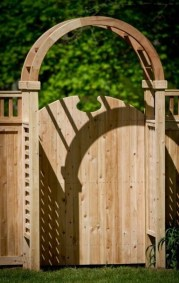 Eastern White Cedar gates are available in 5 different shaped tops. This is Style 40 and you can order any of the designs in 4 or 5 foot widths an in heights to match your fence.