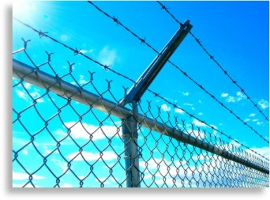 Chain link fence with barb wire arm and barbed wire.