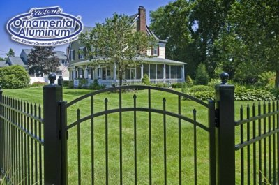 Eastern Ornamental 54 inch tall aluminum fence 54202  Accent gate shown with 4x4 posts and ball caps