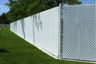 White Chain Link Fence With White Privacy Slats